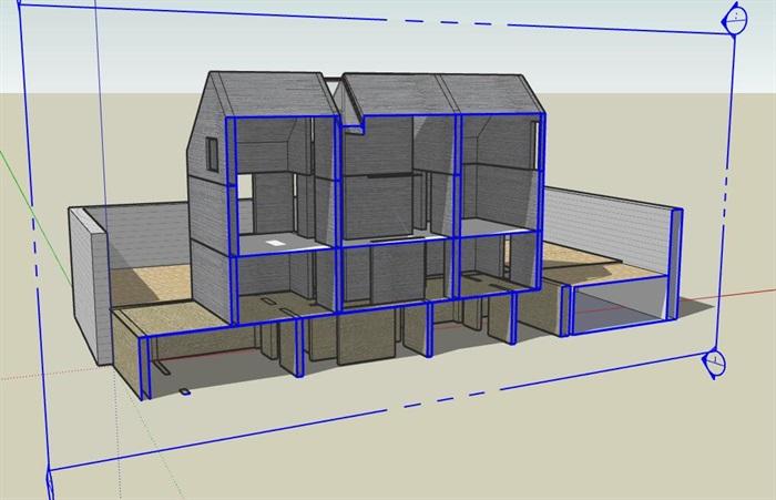 现代先锋创意简约坡屋顶清水混凝土私人住宅别墅(2)