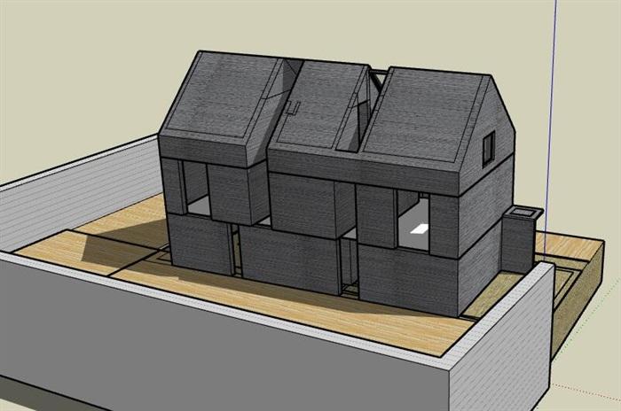 现代先锋创意简约坡屋顶清水混凝土私人住宅别墅(4)