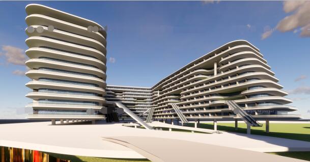 现代创意退台式参数化流动式栏板横线条商业精品酒店(2)