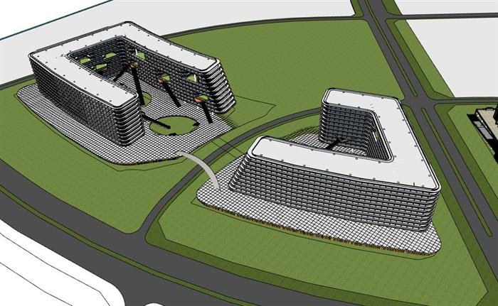 现代创意退台式参数化流动式栏板横线条商业精品酒店(3)