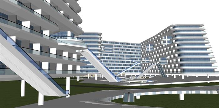 现代创意退台式参数化流动式栏板横线条商业精品酒店(4)