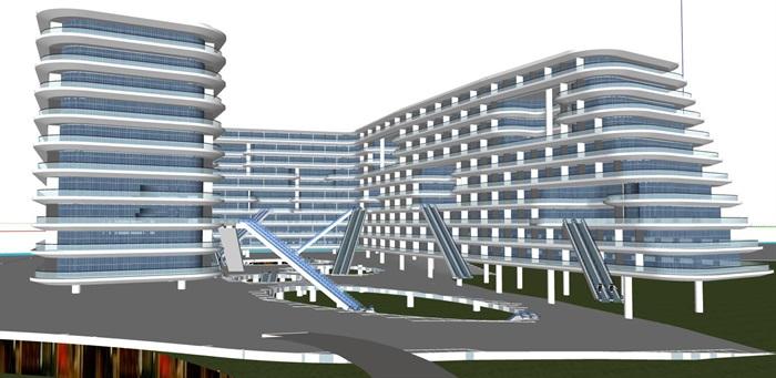 现代创意退台式参数化流动式栏板横线条商业精品酒店(5)