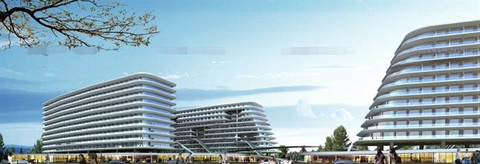 现代创意退台式参数化流动式栏板横线条商业精品酒店(6)