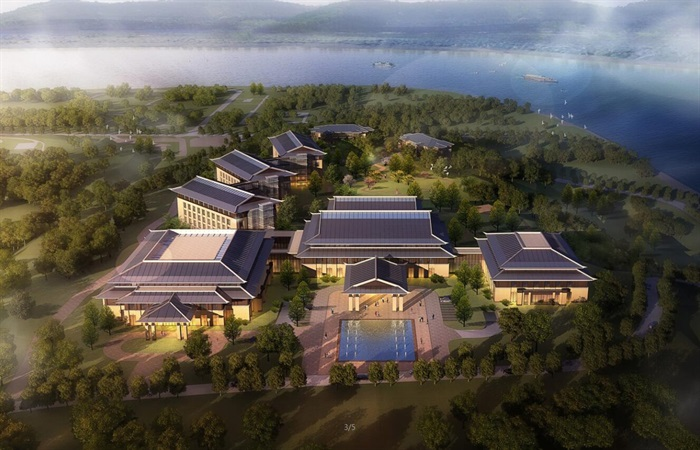 现代新中式高端典雅度假旅游精品酒店民宿群(su模型+cad+超清效果图)(4)