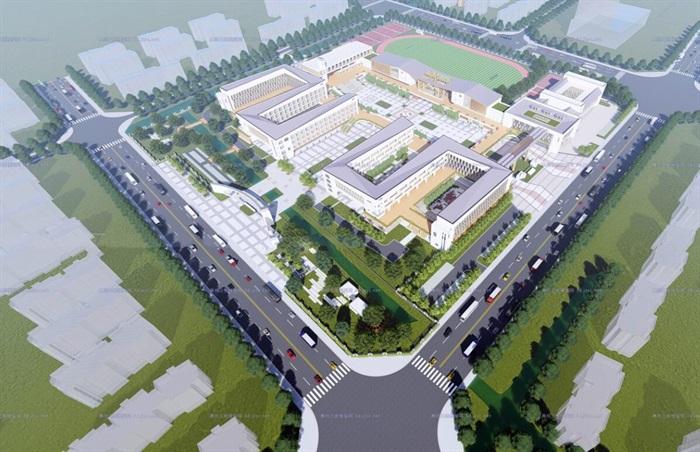 现代大型新中式曲面坡屋顶木格栅表皮架空平台共享交流空间中小学校园规划(1)