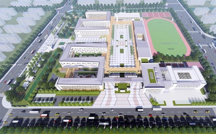 现代大型新中式曲面坡屋顶木格栅表皮架空平台共享交流空间中小学校园规划(2)