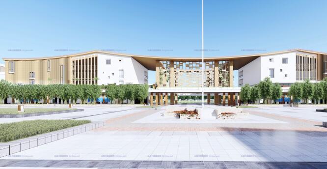 现代大型新中式曲面坡屋顶木格栅表皮架空平台共享交流空间中小学校园规划(5)