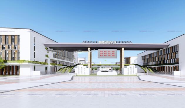 现代大型新中式曲面坡屋顶木格栅表皮架空平台共享交流空间中小学校园规划(3)
