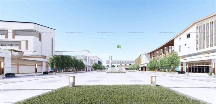 现代大型新中式曲面坡屋顶木格栅表皮架空平台共享交流空间中小学校园规划(4)