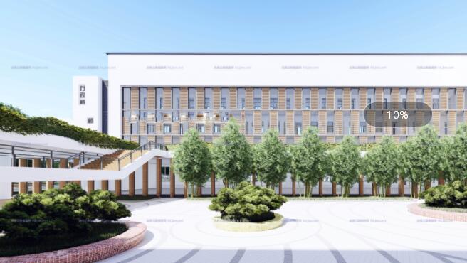现代大型新中式曲面坡屋顶木格栅表皮架空平台共享交流空间中小学校园规划(6)