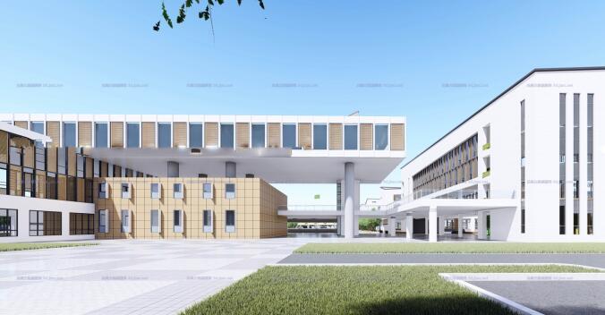 现代大型新中式曲面坡屋顶木格栅表皮架空平台共享交流空间中小学校园规划(7)