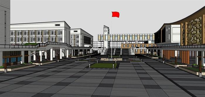 现代大型新中式曲面坡屋顶木格栅表皮架空平台共享交流空间中小学校园规划(9)
