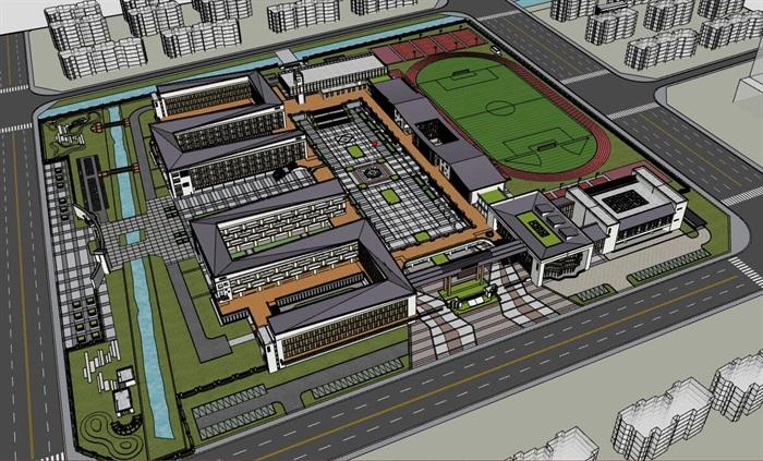 现代大型新中式曲面坡屋顶木格栅表皮架空平台共享交流空间中小学校园规划(10)