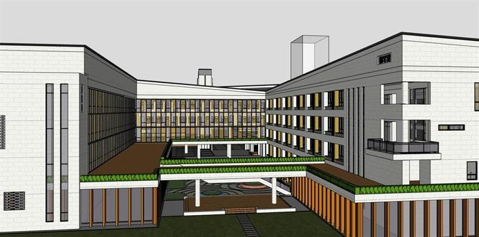 现代大型新中式曲面坡屋顶木格栅表皮架空平台共享交流空间中小学校园规划(12)