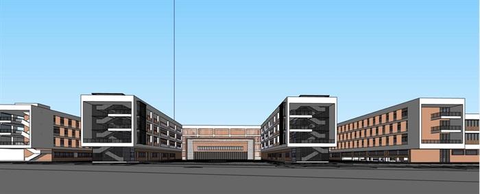 现代创意条形布局平台连接式立体交流共享空间中小学校园规划(3)