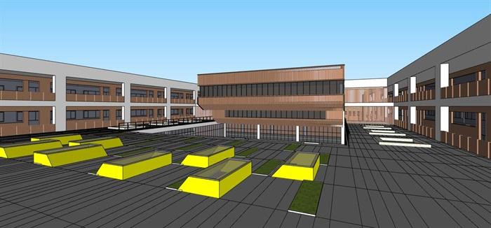 现代创意条形布局平台连接式立体交流共享空间中小学校园规划(6)