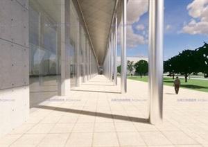 现代大型简约体块穿插组合式清水混凝土城市文化中心建筑群规划博物展览馆