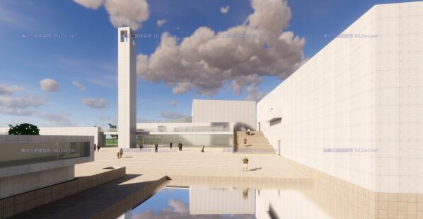 现代大型简约体块穿插组合式清水混凝土城市文化中心建筑群规划博物展览馆(4)