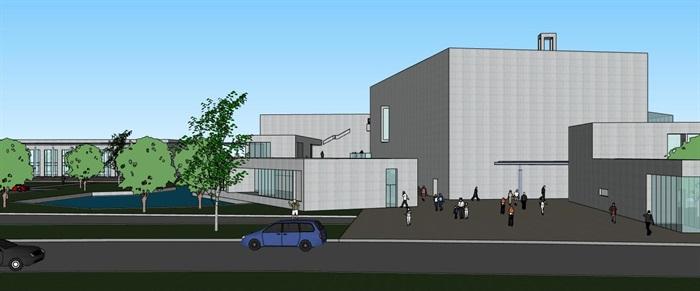 现代大型简约体块穿插组合式清水混凝土城市文化中心建筑群规划博物展览馆(7)