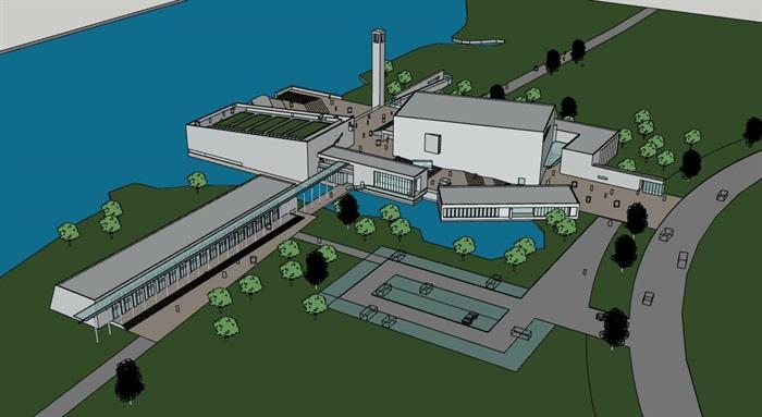现代大型简约体块穿插组合式清水混凝土城市文化中心建筑群规划博物展览馆(6)