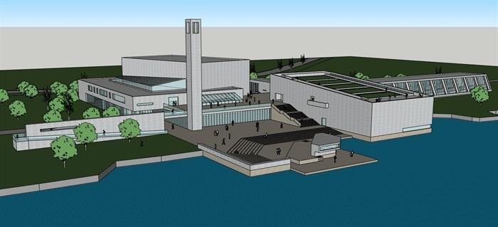 现代大型简约体块穿插组合式清水混凝土城市文化中心建筑群规划博物展览馆(8)
