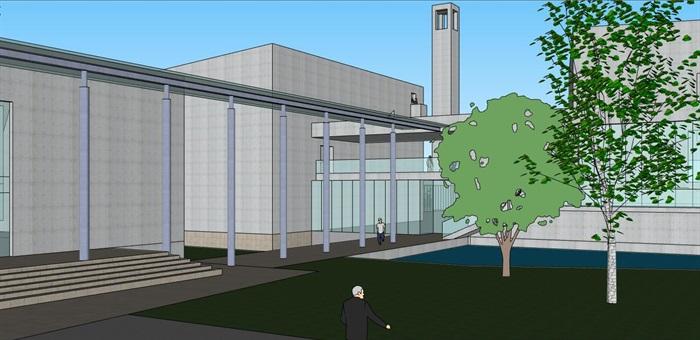 现代大型简约体块穿插组合式清水混凝土城市文化中心建筑群规划博物展览馆(10)