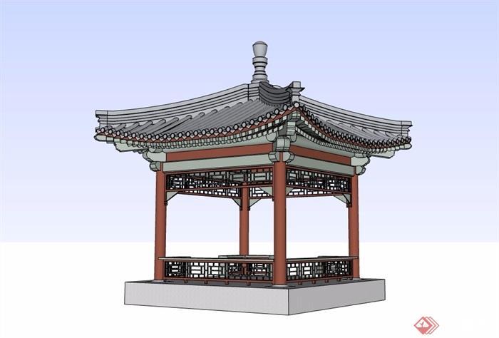 古典中式详细经典的亭子su模型