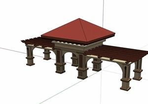 欧式详细的亭廊组合设计SU(草图大师)模型