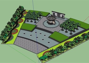 古典中式文化广场设计SU(草图大师)模型