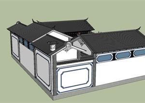 中式四合院民居住宅楼SU(草图大师)模型