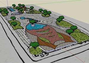 学生作业广场景观设计SU(草图大师)模型