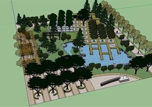 某详细的休闲广场设计SU(草图大师)模型