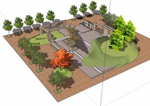 小广场详细完整景观设计SU(草图大师)模型