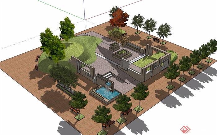 小广场详细完整景观设计su模型