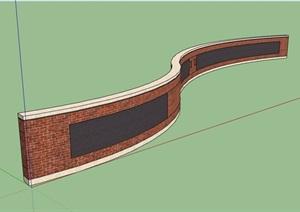 砖砌详细的景墙设计SU(草图大师)模型