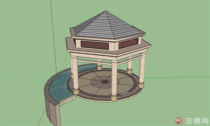 欧式经典亭子设计su模型