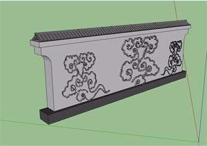 中式风格简单的景墙设计SU(草图大师)模型