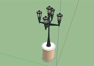 欧式独特造型的路灯设计SU(草图大师)模型