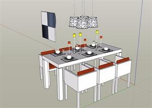 餐桌椅及吊灯设计SU(草图大师)模型