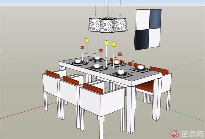 餐桌椅及吊灯设计su模型
