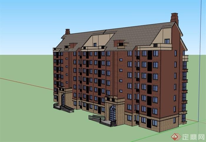 七层住宅建筑楼设计su模型