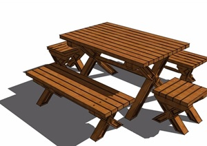 园林景观全木质桌凳素材设计SU(草图大师)模型