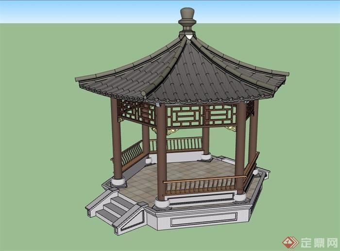 古典中式完整的亭子su模型