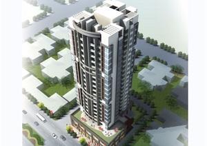 现代商业住宅详细建筑楼设计SU(草图大师)模型带效果图