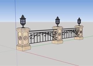 欧式风格铁艺栏杆围栏SU(草图大师)模型