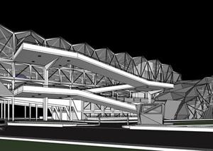 现代创意参数化褶皱表皮屋顶一体式立体停车楼