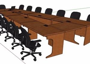 现代风格A字形会议桌椅组合SU(草图大师)模型