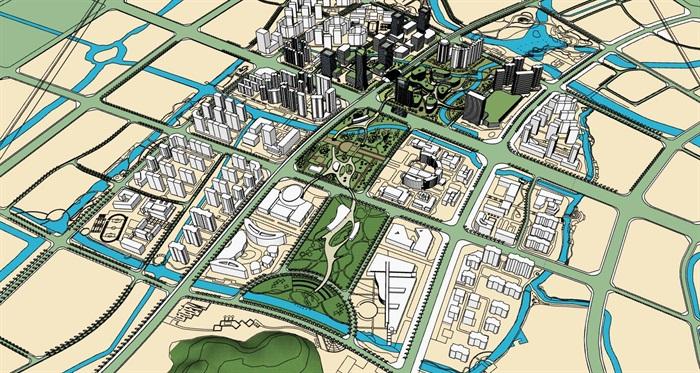 城市景观绿轴中心公园cbd商业办公综合群规划[原创]