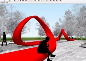 现代异形红飘带造型椅SU(草图大师)模型