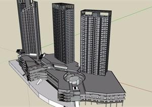 详细的商业住宅详细建筑楼设计SU(草图大师)模型